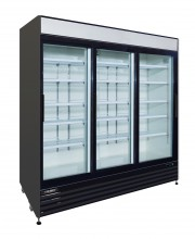 "81"" 3-DOOR GLASS SLIDING REFRIGERATOR, BLACK EXTERIOR"