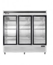 BGSS GLASS 3-DOOR MERCHANDISER, STAINLESS STEEL