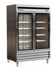 "54"" STAINLESS STEEL GLASS DOOR FREEZER"