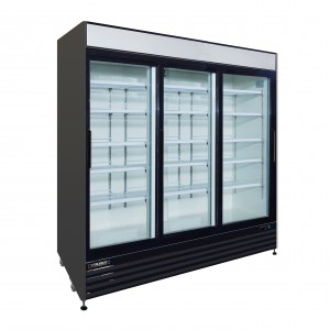 81″ 3-DOOR GLASS SLIDING REFRIGERATOR, BLACK EXTERIOR